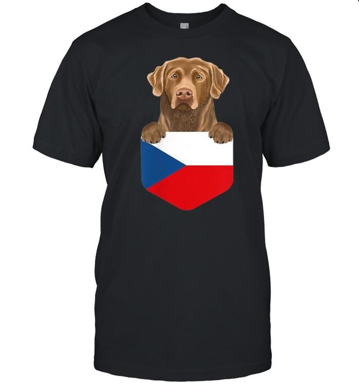 Czech Republic Flag Chesapeake Bay Retriever Dog In Pocket shirt