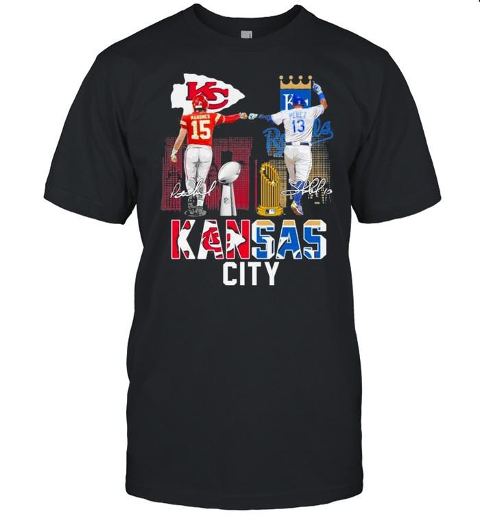 Kansas City Chiefs Mahomes And Kansas City Royals Mahomes Perez Shirt