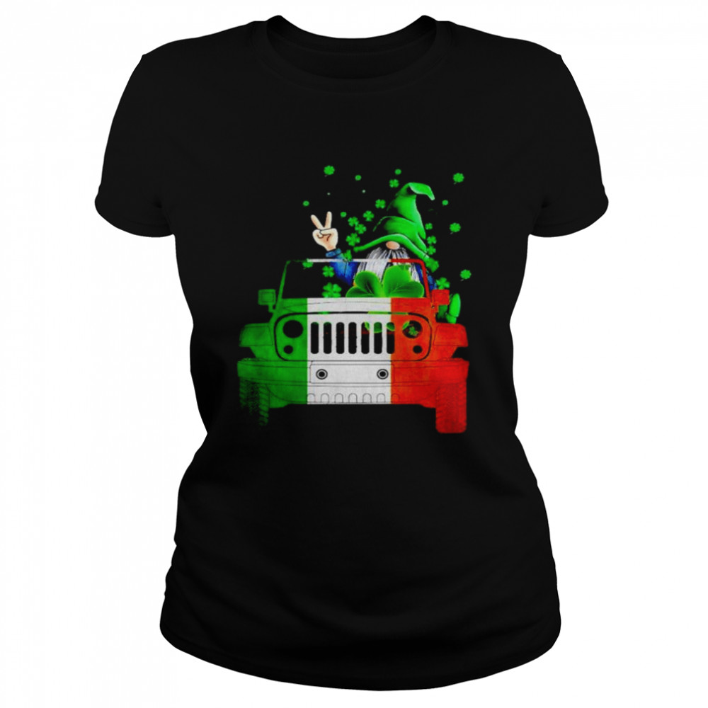 Gnome driving jeep St.Patrick's day shirt Classic Women's T-shirt