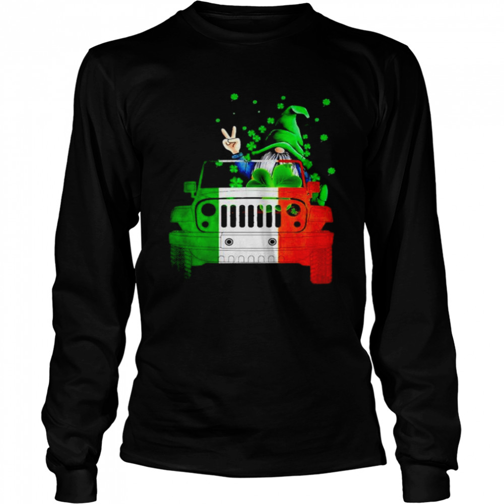 Gnome driving jeep St.Patrick's day shirt Long Sleeved T-shirt