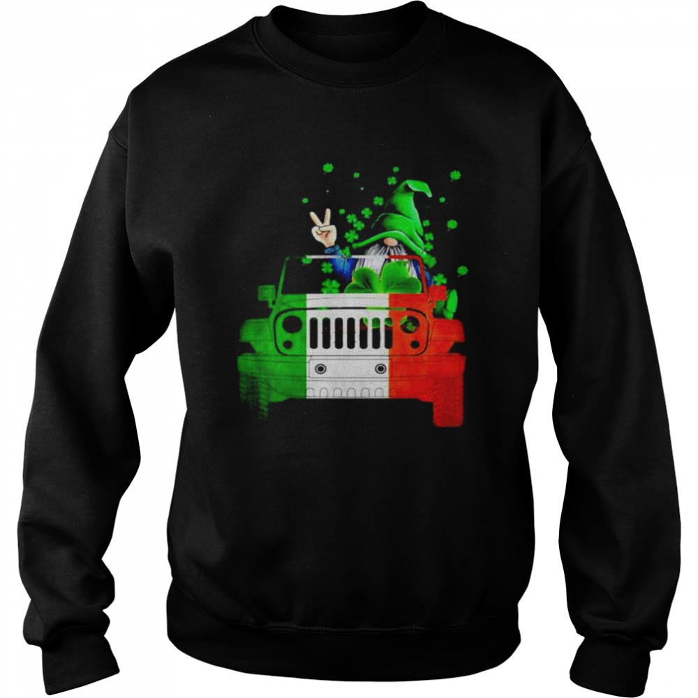 Gnome driving jeep St.Patrick's day shirt Unisex Sweatshirt
