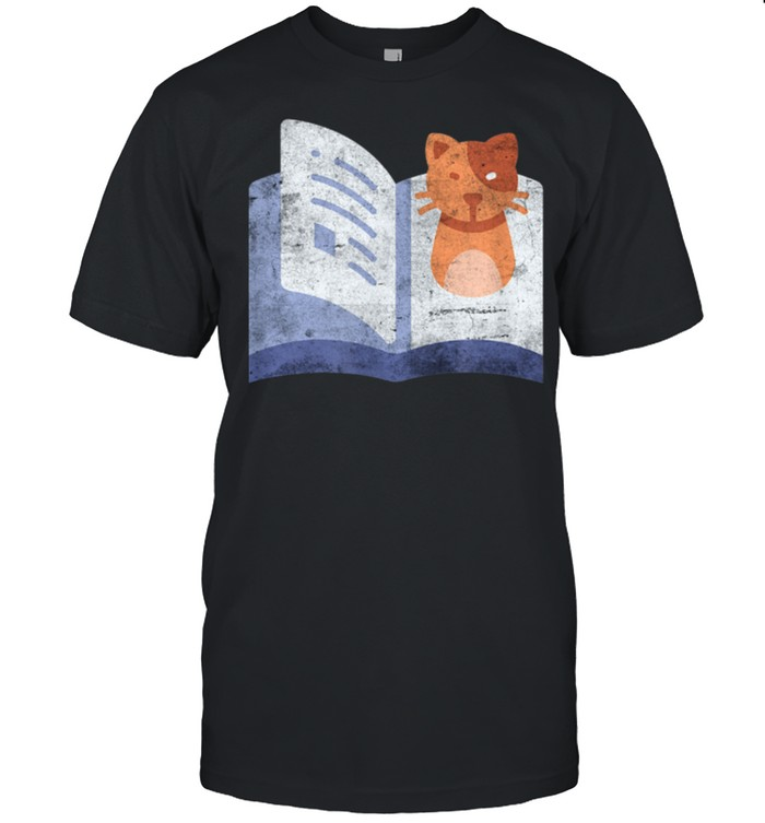 Distressed Book And Cat Reading Introvert shirt