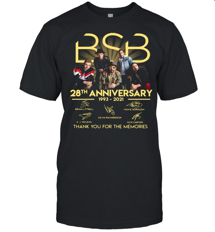 The Backstreet Boys 28th Anniversary 1993 2021 Signatures Thank You For The Memories Shirt