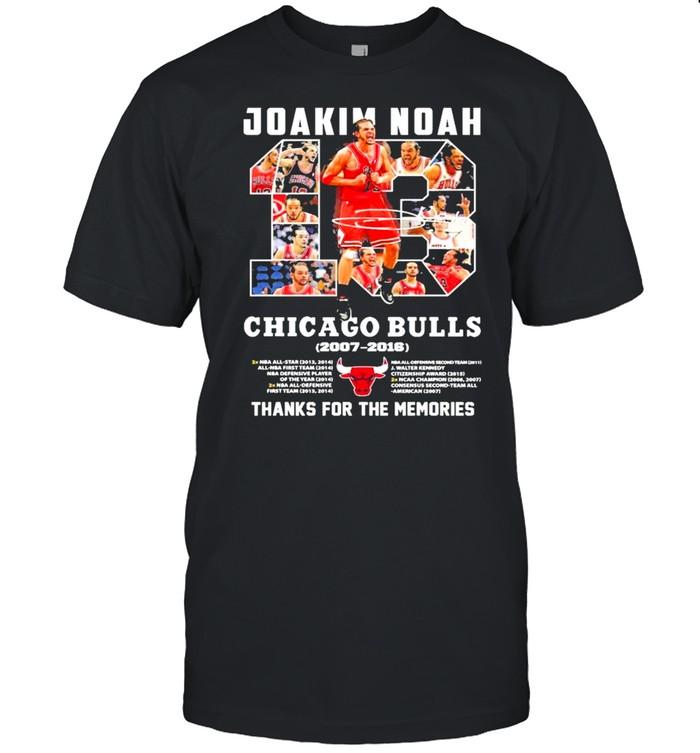 13 Joakim Noah Chicago Bulls 2007 2016 Thank You For The Memories Signature Shirt