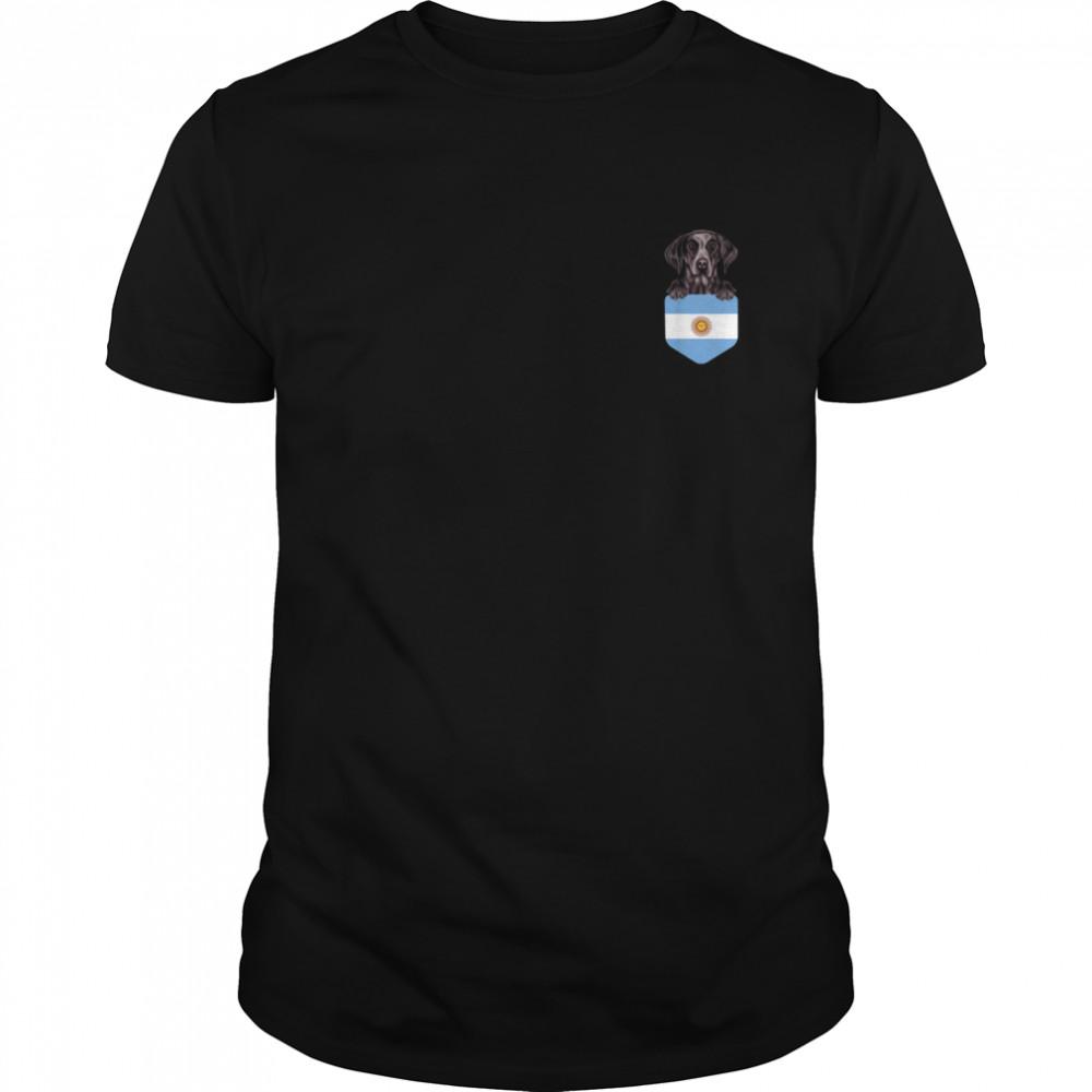 Argentina Flag German Shorthaired Pointer Dog In Pocket shirt
