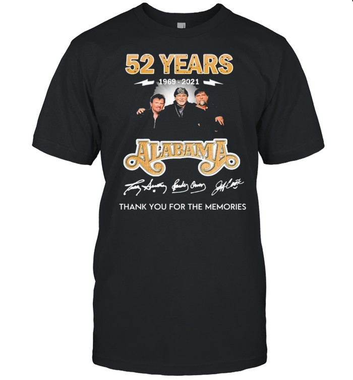 52 Years 1969-2021 Alabama Thank You For The Memories Shirt