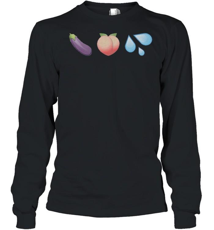 Sex Emojis Peach Eggplant Water shirt Long Sleeved T-shirt