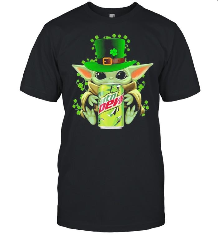 Baby Yoda Hug Mtn Dew Irish Patricks Day Shirt