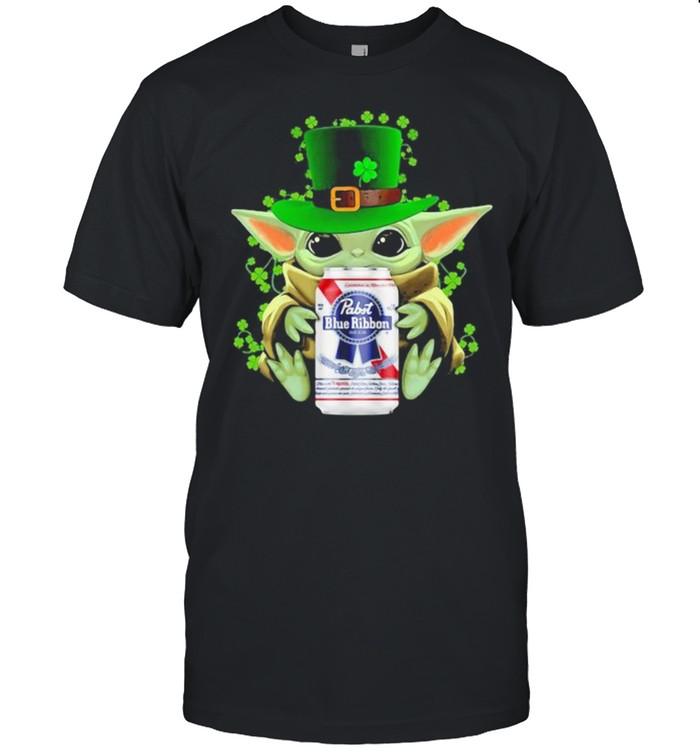 Baby Yoda Hug Pabst Blue Ribbon Irish Patricks Day Shirt