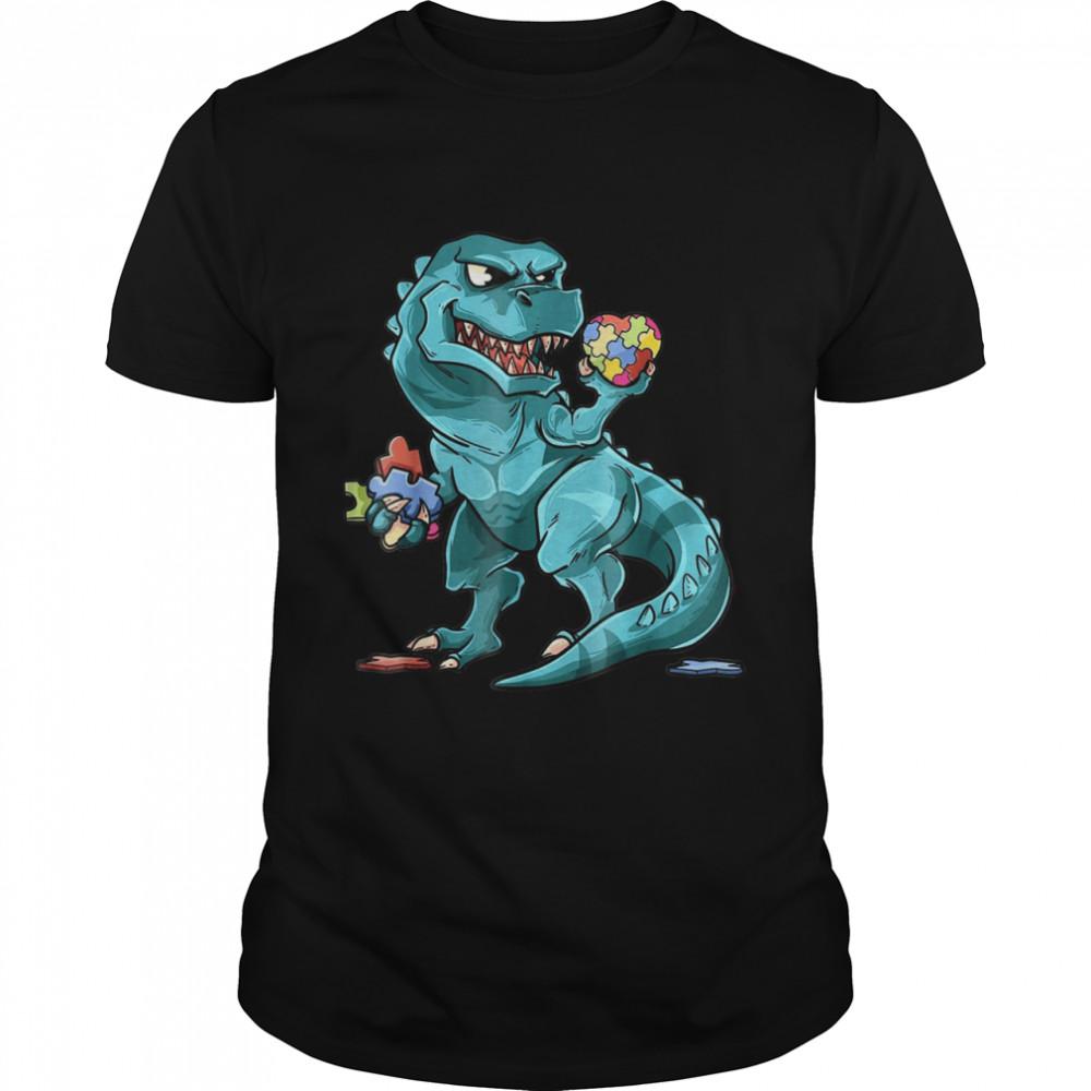 Autism Awareness Dinosaur Shirt Heart Puzzle Pieces shirt