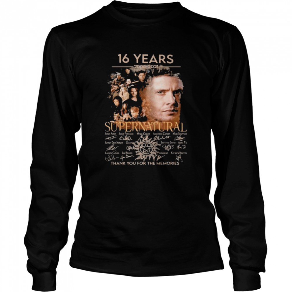 16 Years 2005 2021 Supernatural Thank You For The Memories Signature Long Sleeved T-shirt