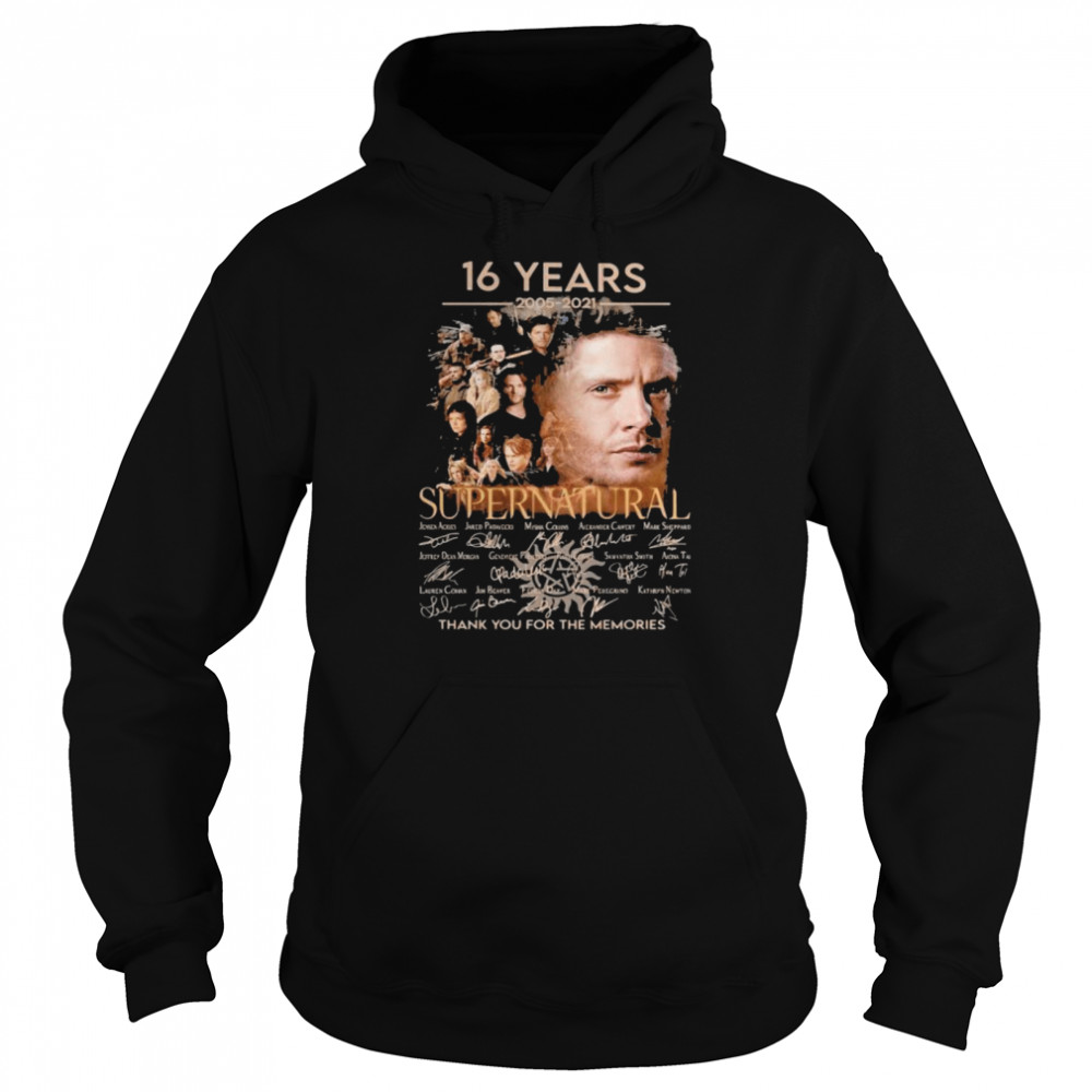 16 Years 2005 2021 Supernatural Thank You For The Memories Signature Unisex Hoodie