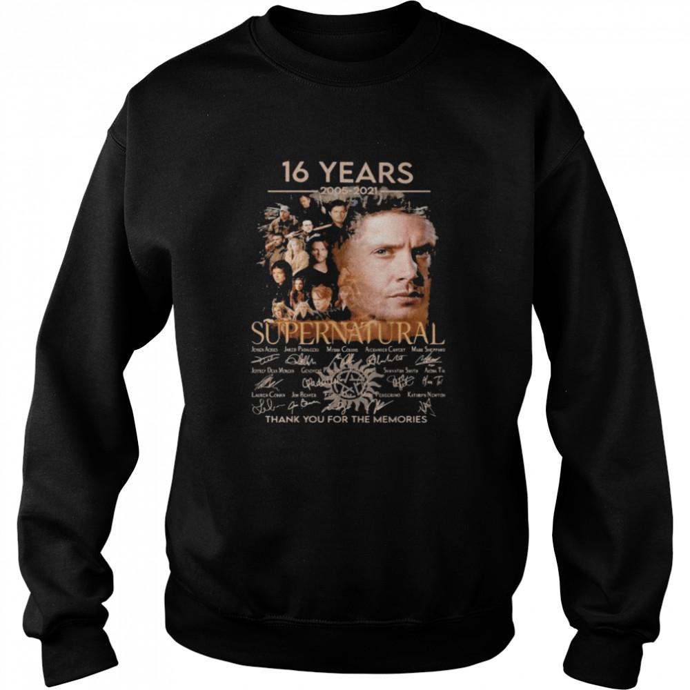 16 Years 2005 2021 Supernatural Thank You For The Memories Signature Unisex Sweatshirt