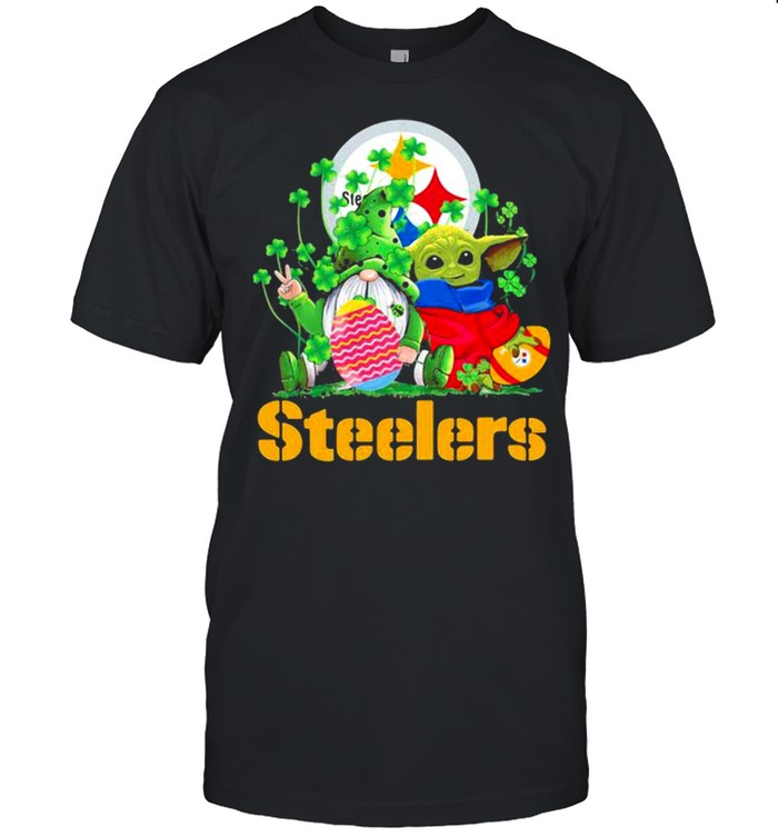 Steelers Football Baby Yoda Vs Gnome Happy Easters And St Patricks Day Shirt