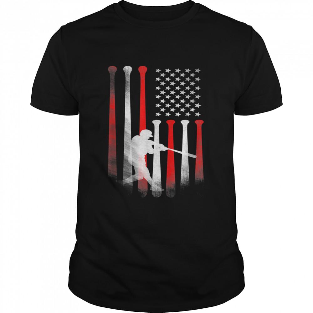 American Flag Baseball Player Flag Dad Mom Kid shirt