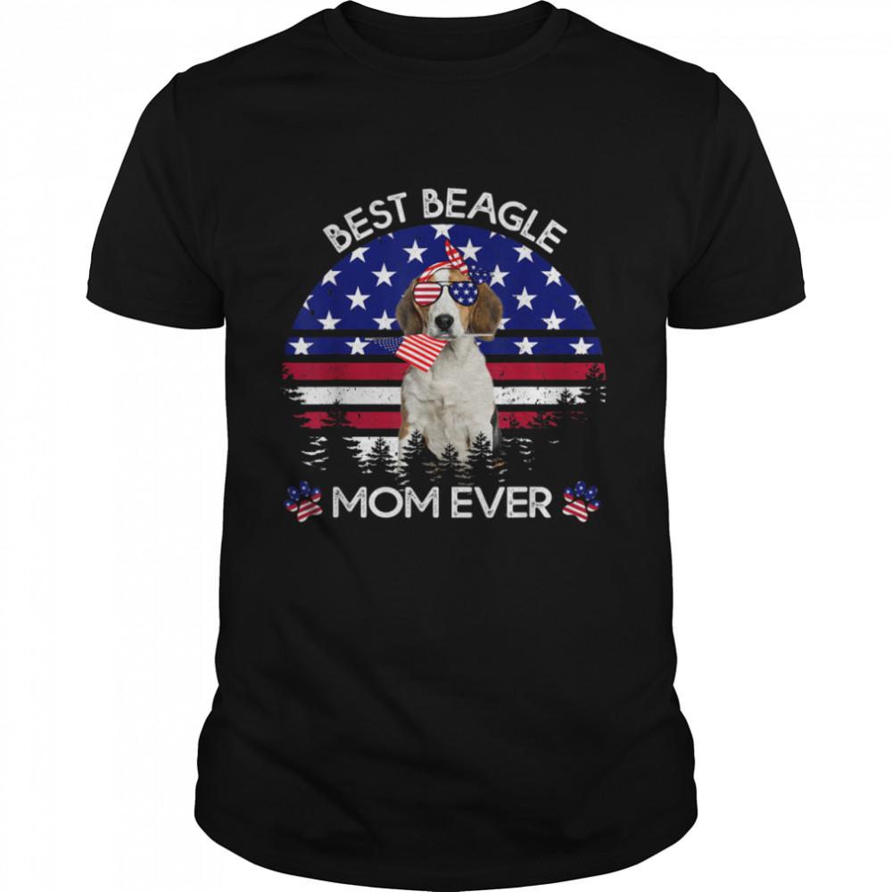 Best Beagle Mom Ever Vintage American Flag 4th Of July shirt