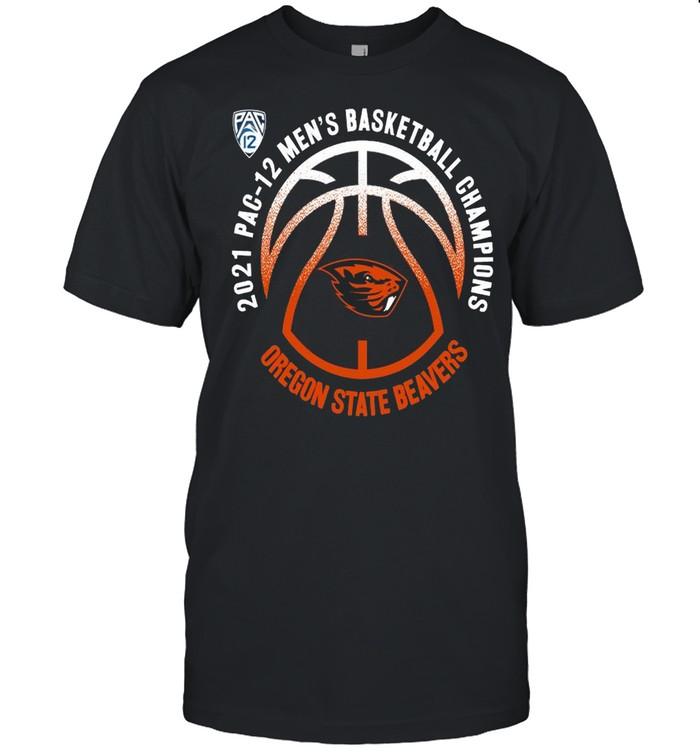 Oregon State Beavers 2021 PAC-12 men's basketball champions shirt