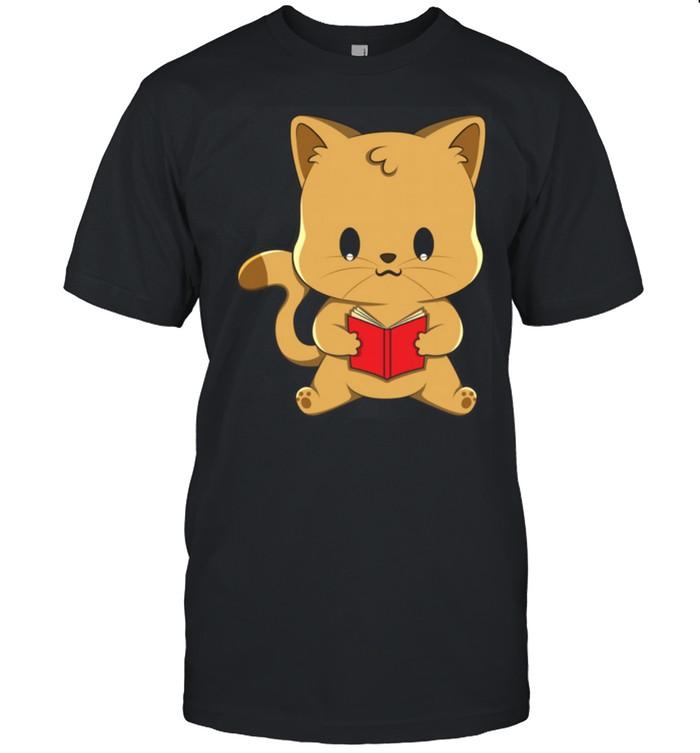 Cat Reading Book Kawaii Anime Japanese Shirt
