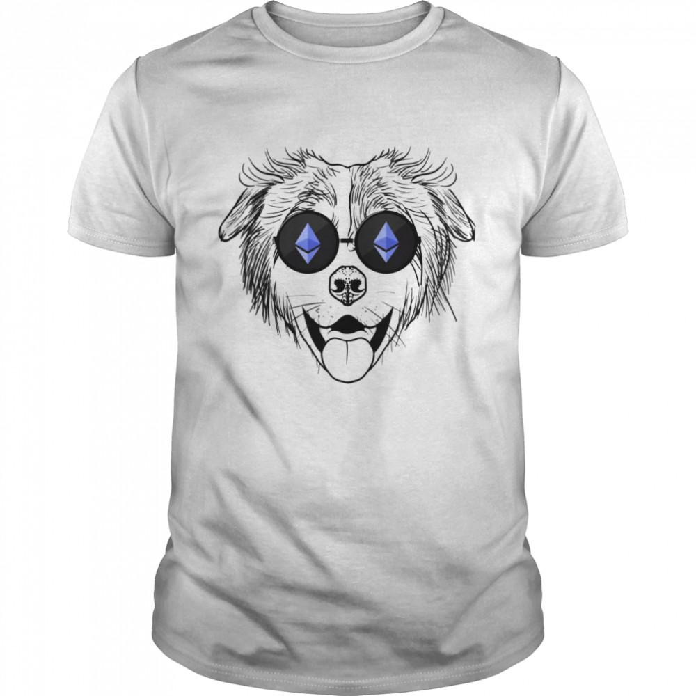 Australian Shepherd Dog Wearing Ethereum Sunglasses shirt