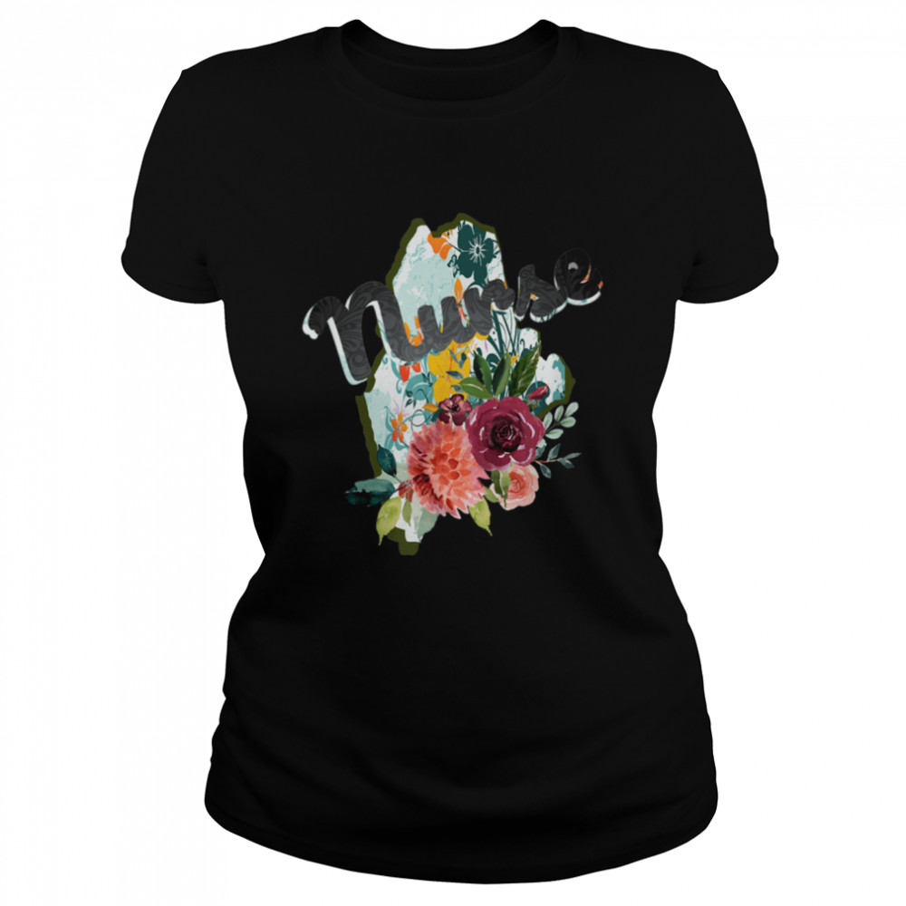 Maine Nurse Watercolor Flower Tote Bag  Classic Women's T-shirt