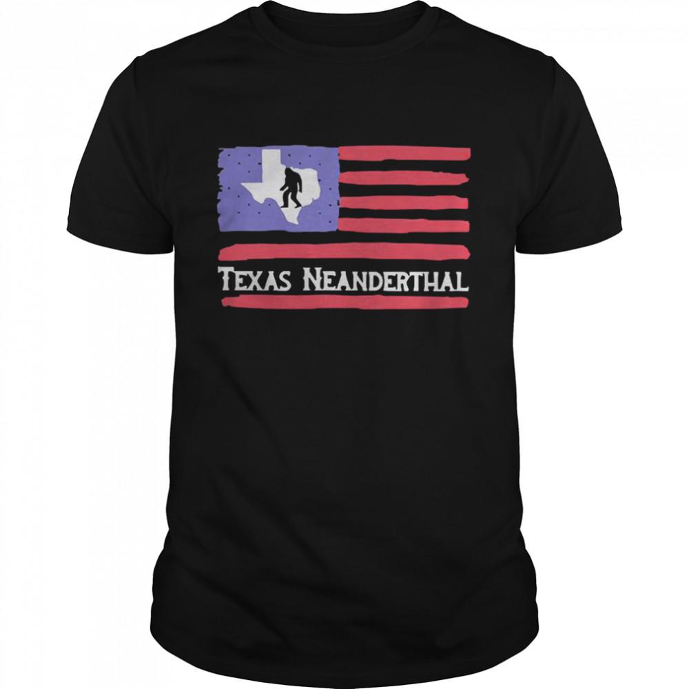 Bigfoot American flag Texas neanderthal shirt