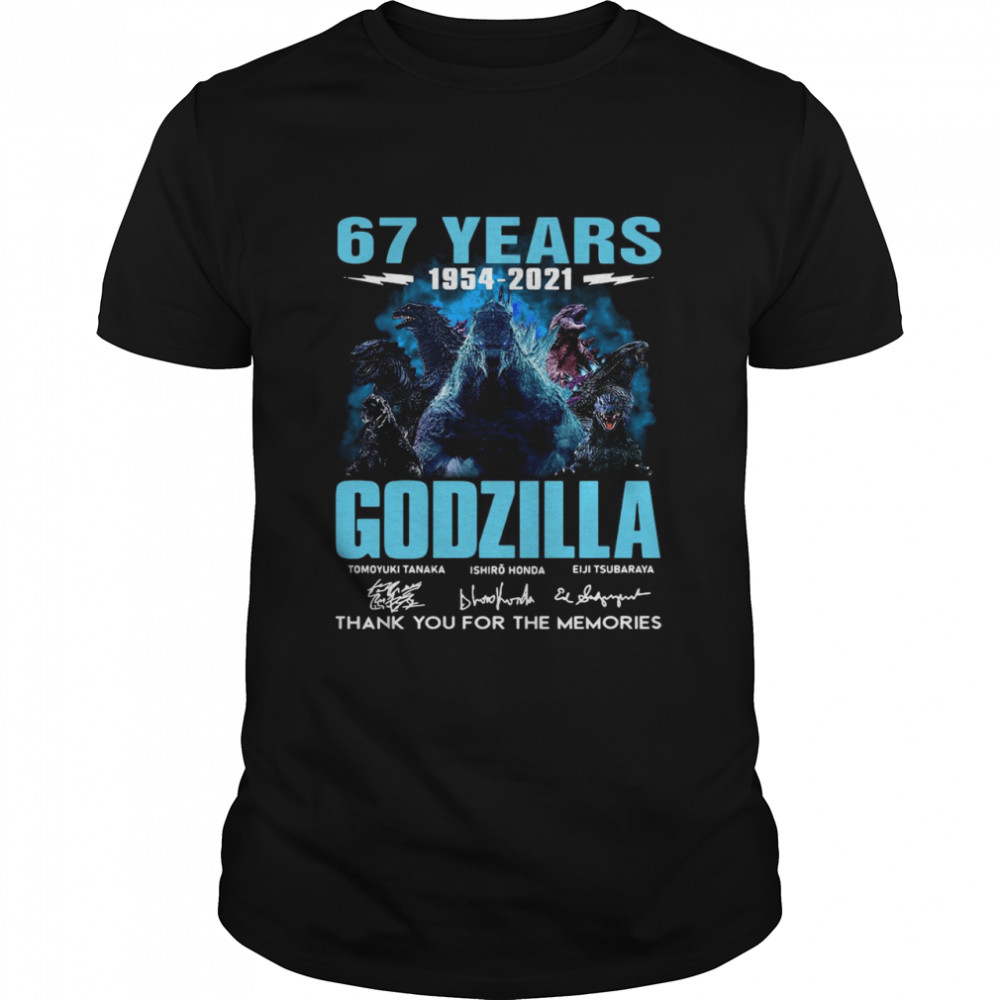67 Years Godzilla 1954 2021 Thank You For The Memories Signatures shirt