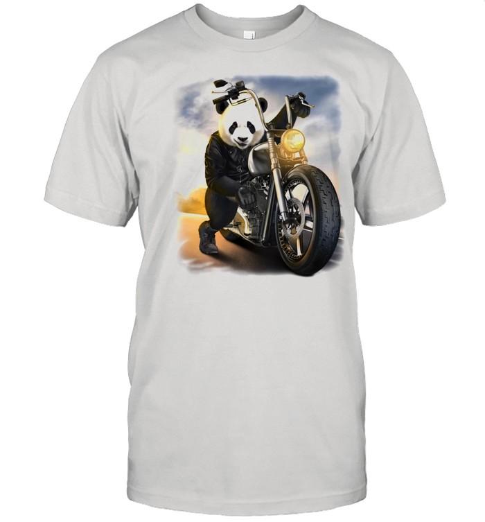 Biker Giant Panda Riding Chopper Motorcycle Shirt