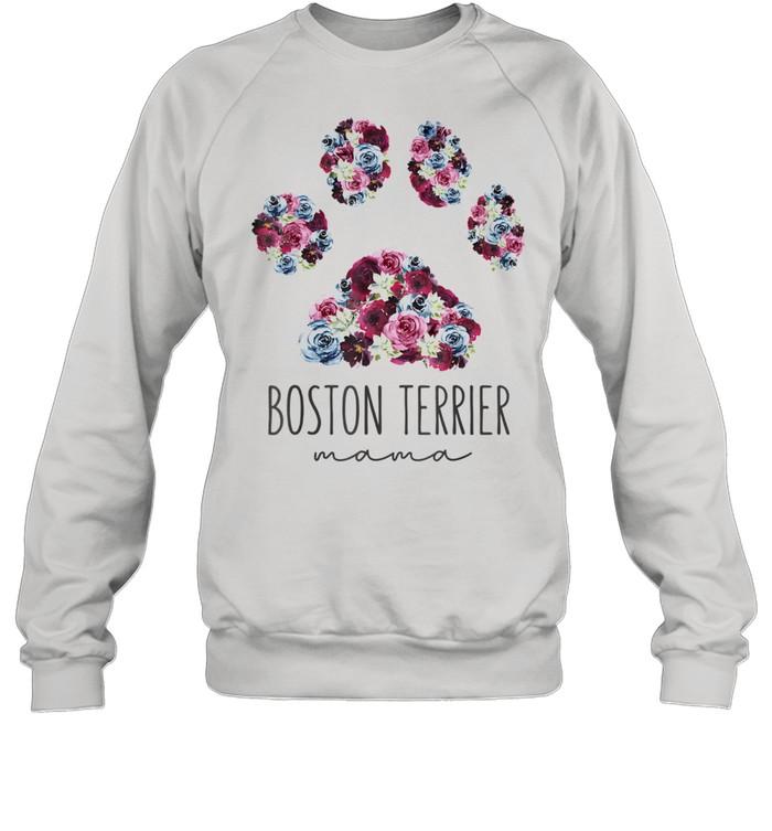 Boston Terrier Mama Floral Paw Dog Mom Unisex Sweatshirt