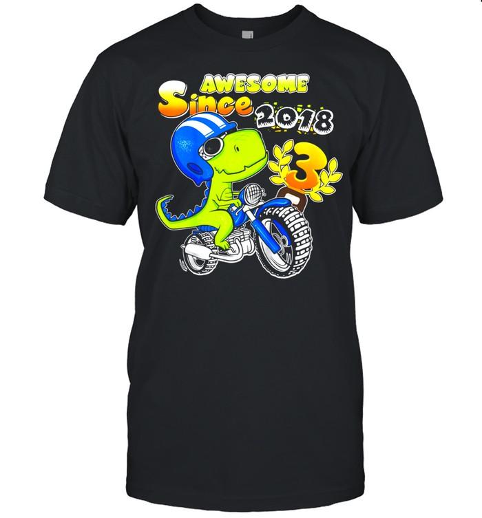 Kids 3rd Birthday Shirt 3 Year Old Dirt Bike Boy Party Dinosaur shirt