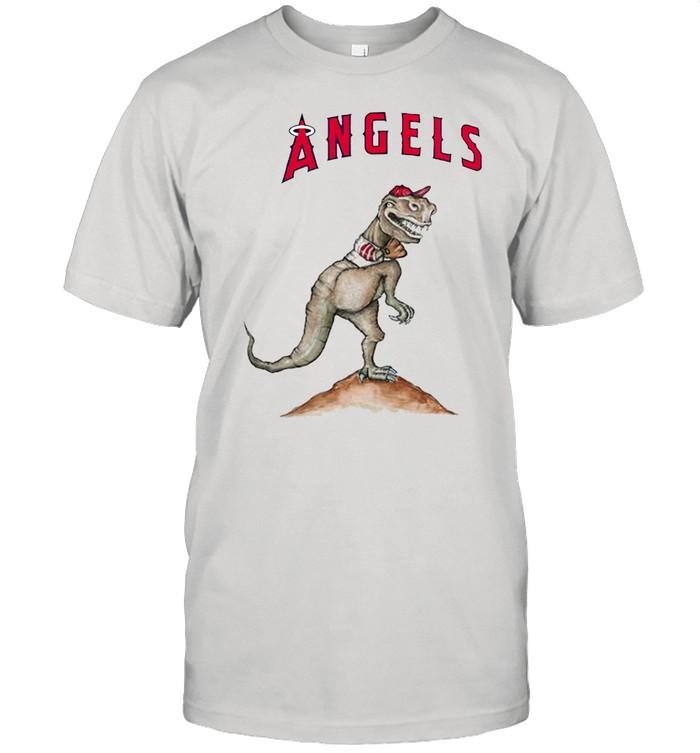 Los Angeles Angels T-Rex throw a baseball shirt