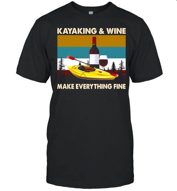 Kayaking And Wine Make Everything Fine Vintage Retro T-shirt