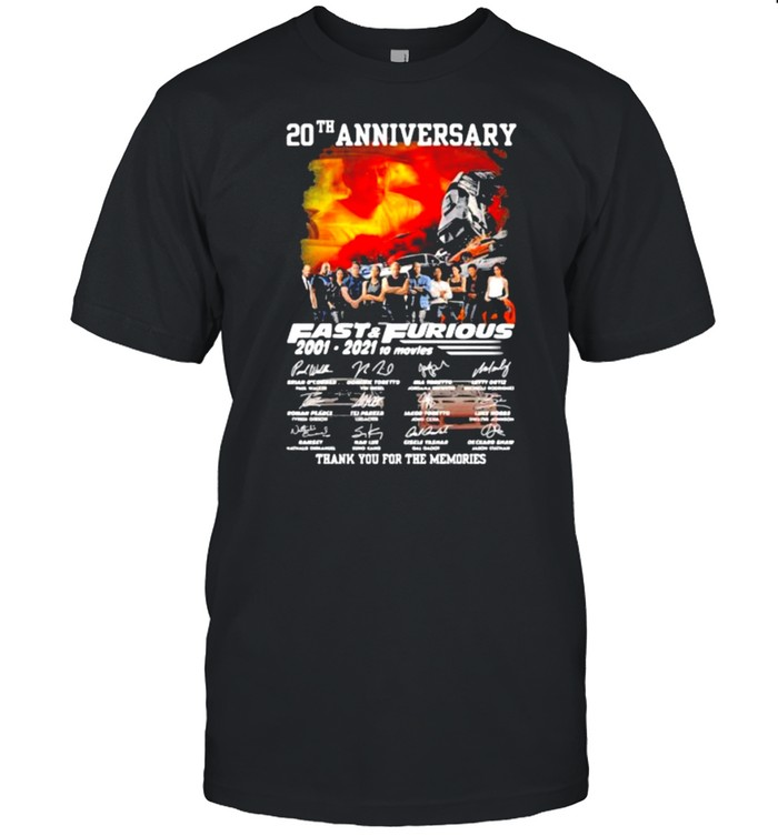 20th anniversary Fast and Furious 2001-2021 10 movies thank you for the memories signatures shirt