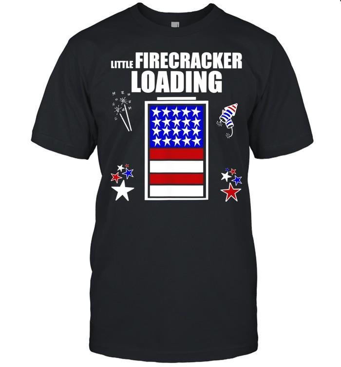4th July Pregnancy baby reveal Little Firecracker loading shirt