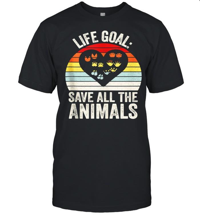 Retro Life Goal Save All The Animals Wildlife Rescue Animal shirt
