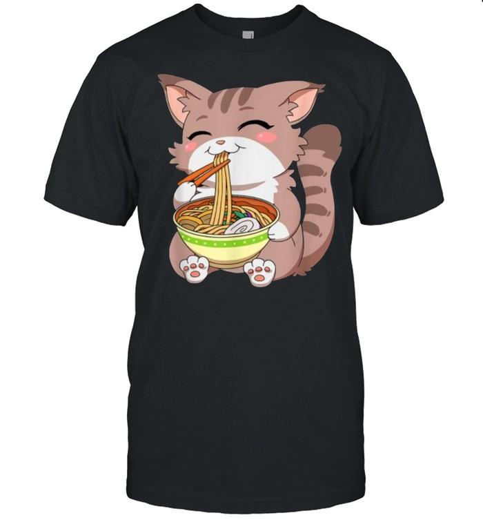 Japanese Kawaii Anime Cat Ramen Noodles T-Shirt