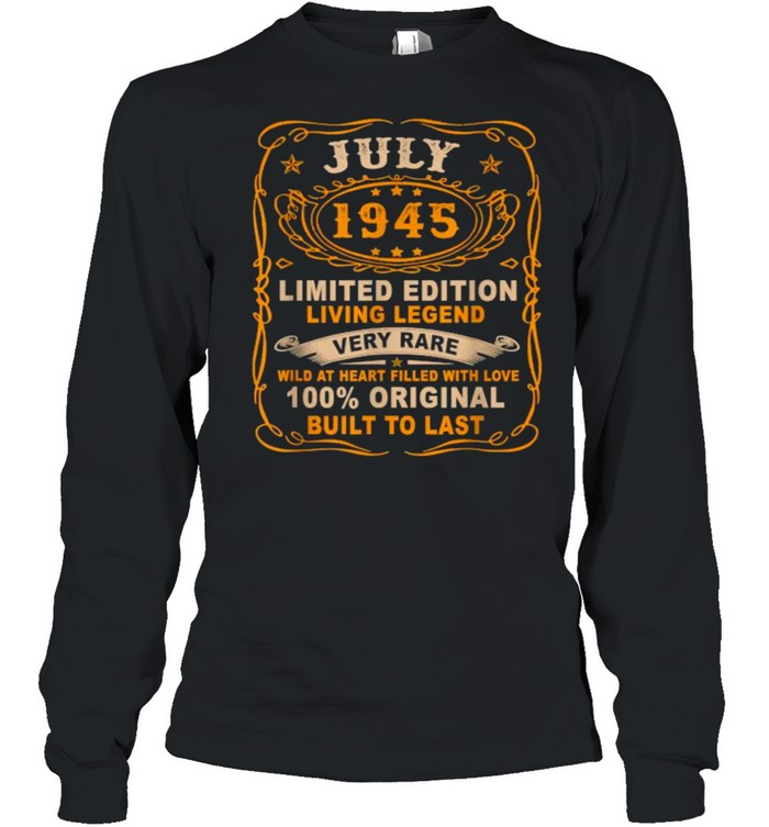 July 1945 Limited Edition Living Legend Very Rare Vintage T- Long Sleeved T-shirt