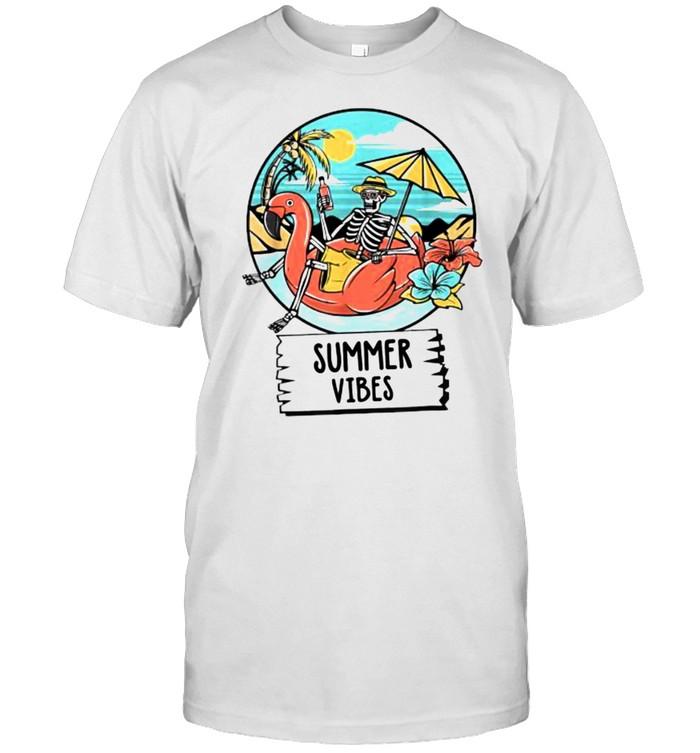 Summer Vibes Skull Skeleton Beach T-Shirt