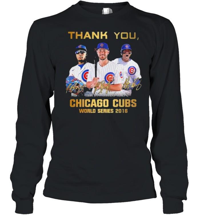Thank you chicago cubs world series 2016 signature shirt Long Sleeved T-shirt