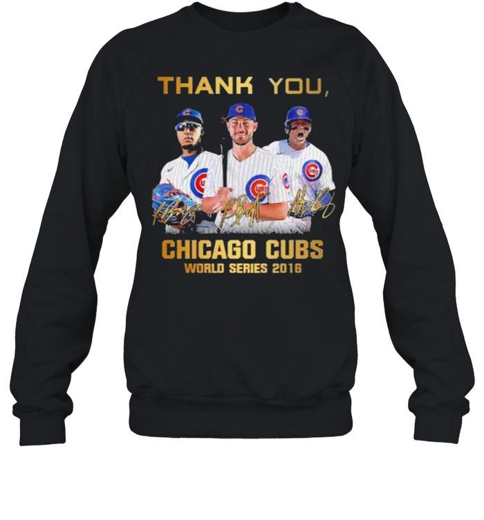 Thank you chicago cubs world series 2016 signature shirt Unisex Sweatshirt