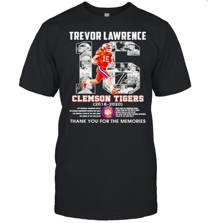 Trevor Lawrence #16 Clemson Tigers 2018 2020 thank you for the memories shirt