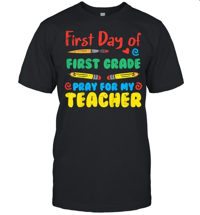 Kids First Day First Grade 1st Pray Back School Boy Girl shirt