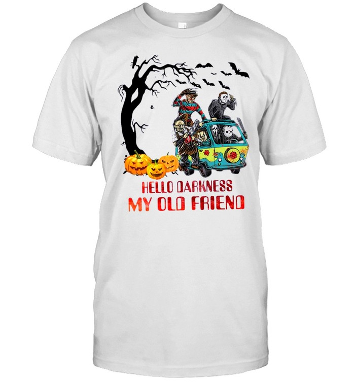 Horror Movie Characters On Scooby Doo Car Hello Darkness My Old Friends Shirt