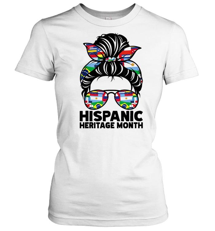 National Hispanic Heritage Month Messy Bun Hair Sunglasses Classic Women's T-shirt