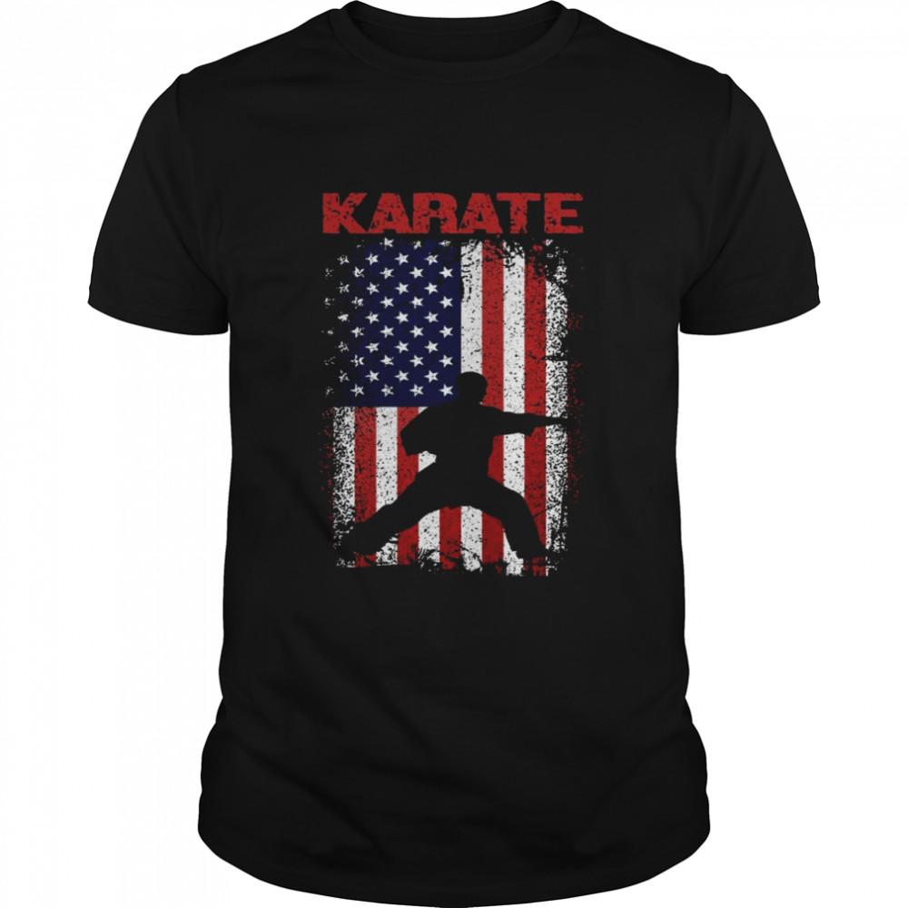 Karate Sport, USA Retro Amerikanische Flagge, Japanische Langarmshirt Shirt