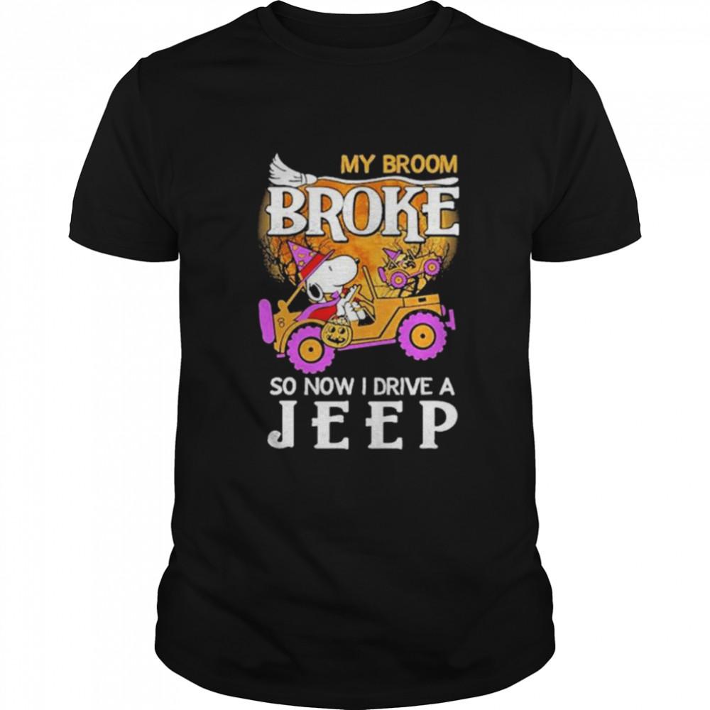 Snoopy my broom broke so now I drive a Jeep Halloween shirt