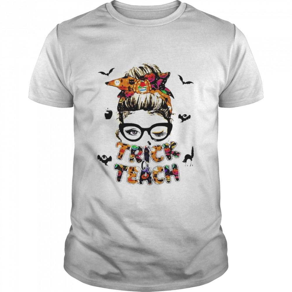 Messy bun Halloween trick or teach shirt