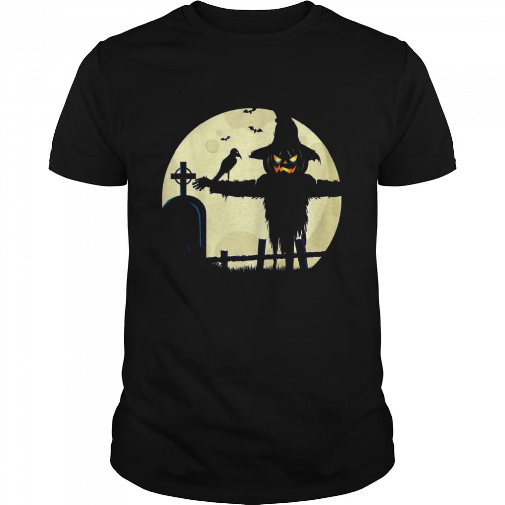 Halloween Scarecrow Pumpkin Spooky Costume Design Shirt