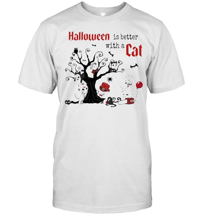 Halloween Is Better with a Cats Horror Characters On Tree Shirt
