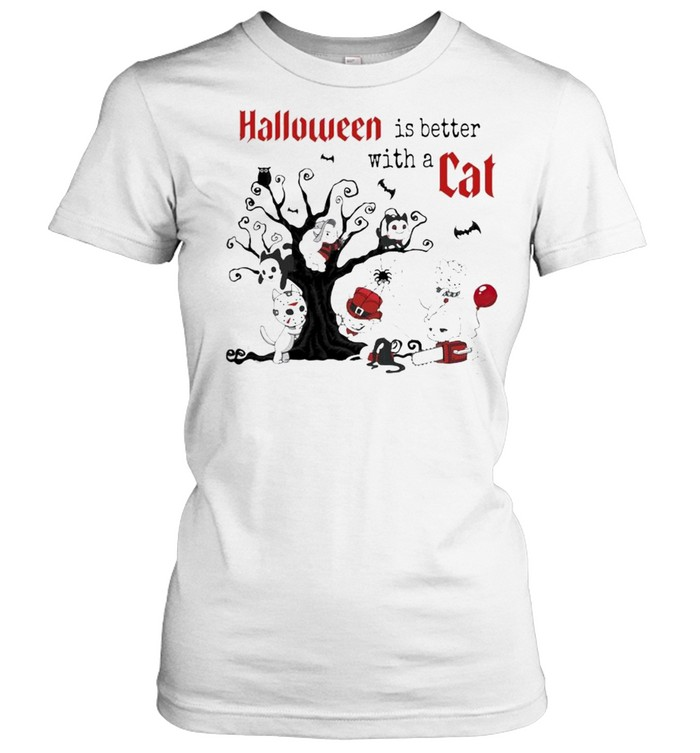 Halloween Is Better with a Cats Horror Characters On Tree Classic Women's T-shirt