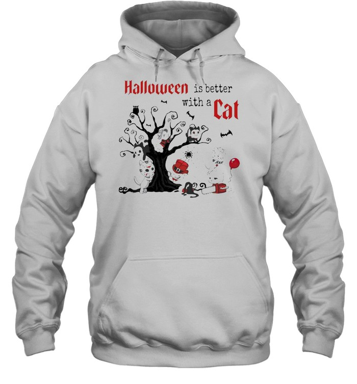 Halloween Is Better with a Cats Horror Characters On Tree Unisex Hoodie